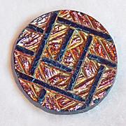 Gorgeous Antique Black Glass Iridescent Small Button