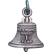 Sterling BELL TELEPHONE 1 Year Attendance Award Vintage Estate Charm