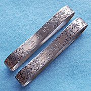 Antique UNGER BROS Sterling Signed Pair of Napkin Rings