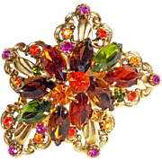 Fabulous ORANGE GREEN PINK Rhinestone Vintage Estate Pin Brooch
