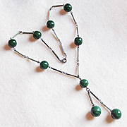 Gorgeous ART DECO Green Glass Vintage Estate Necklace