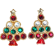 Fabulous CHRISTMAS TREE Rhinestone & Enamel Vintage Estate Earrings