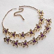 Gorgeous CORO Signed Purple Rhinestone Vintage Estate Necklace Set