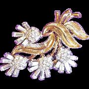 Fabulous TRIFARI Signed Rhinestone Flower Vintage Estate Pin Brooch