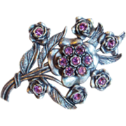 Fabulous LITTLE NEMO Signed Purple Rhinestone Vintage Estate Pin Brooch