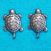 Awesome Sterling TURTLE Vintage Estate Earrings