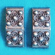Fabulous MEXICAN SILVER Ornate Vintage Estate Earrings