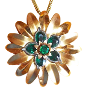 Fabulous Green Rhinestone Vintage Flower Pendant Necklace