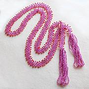 SOLD Fabulous Flapper Art Deco Pink Beaded Lariat Vintage Estate Necklace