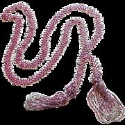 Fabulous Flapper Art Deco Lavender Beaded Lariat Vintage Estate Necklace