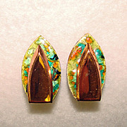 Awesome Enameled MATISSE RENOIR Vintage Clip Earrings