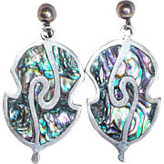 Fabulous MEXICAN STERLING & Abalone Signed Vintage Estate Earrings