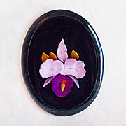 Gorgeous CARVED LUCITE Orchid Vintage Estate Pin Brooch