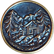 Antique CABIN IN THE WOODS Large Picture Story Button
