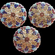 Fabulous ENAMEL Antique Victorian Filigree Large Estate Buttons