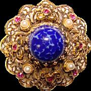 Gorgeous AUSTRIA Vintage Blue Glass & Pink Rhinestone Estate Pin Brooch