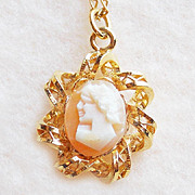 Tiny Carved Shell Cameo 12K GF Vintage Estate Necklace