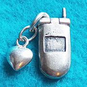 Sterling FLIP PHONE Mechanical Movable Charm