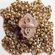 SOLD Very Long VICTORIAN Large Slide Antique Estate Watch Chain or Necklace