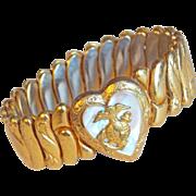 Petite Girl WWII MARINE Sweetheart Heart 1940s Expansion Vintage Estate Bracelet