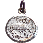 Sterling ARIES the Ram Thick Vintage Estate Charm