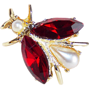 Awesome DODDS Bug Insect Signed Rhinestone Vintage Estate Pin Brooch
