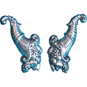 Vintage STERLING CORNUCOPIA Estate Earrings