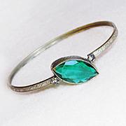 Art Deco Teal Green Glass Vintage Bangle Bracelet
