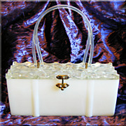 Fabulous LUCITE & Plastic Fancy Lid Vintage Estate Box PURSE