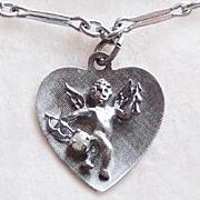 Sterling CUPID IN HEART Charm Vintage Bracelet