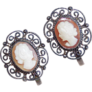 Vintage 800 Silver Carved Shell Cameo Earrings
