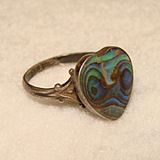 Gorgeous Vintage Sterling &  Opalescent Abalone HEART Shaped Ring