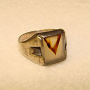 Awesome Vintage Sterling Silver Patterned Agate Men's Ring