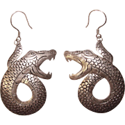 Fabulous Vintage STERLING SNAKE Earrings