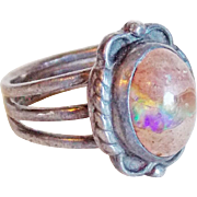 Gorgeous MEXICAN FIRE OPAL Sterling Vintage Ring - Size 5 1/2