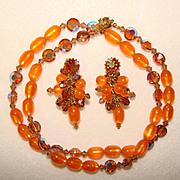 Fabulous ORANGE MOONGLOW & Topaz Aurora Crystal Necklace SET