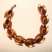 Fabulous RENOIR Vintage COPPER TULIP Link Design Bracelet