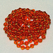 Art Deco ORANGE Glass Beads Long Flapper Necklace