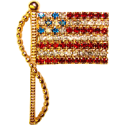 Awesome Rafaelian Vintage AMERICAN FLAG Rhinestone Brooch