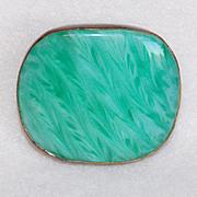 Antique VICTORIAN Green Glass Pin Brooch