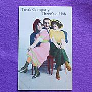 Antique Comic 2's Company 3's a Mob Postcard
