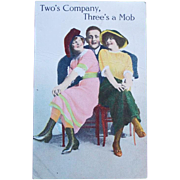 Antique Comic 2's Company 3's a Mob Postcard