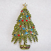 Signed ART Christmas Tree Vintage Pin Brooch