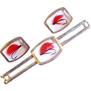 Signed ANSON Fishing Lure Fly Lucite Vintage Cufflinks Set