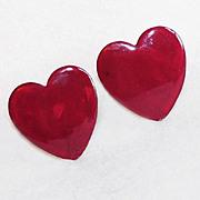 Vintage HEART Enamel Painted Copper Cufflinks