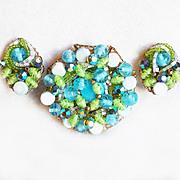 Aqua & Green Wired Glass Bead Vintage Set