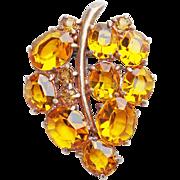 Gorgeous ART DECO Amber Glass Dress Clip Brooch