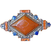 Gorgeous Edwardian Amber & Blue Enamel Pin Brooch