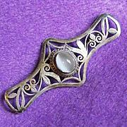 Fine STERLING & MOONSTONE Vintage Pin Brooch