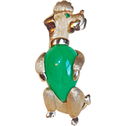 Vintage TRIFARI Signed Green Belly POODLE Pin Brooch